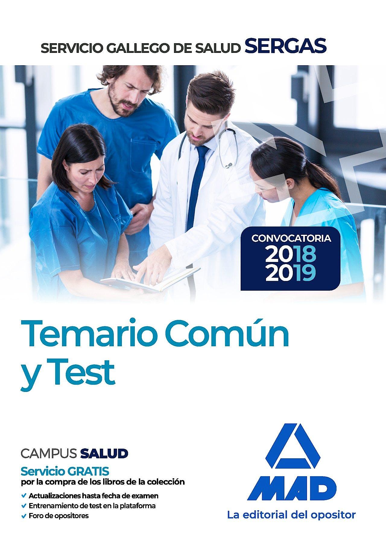 Portada del libro 9788414216200 Servicio Gallego de Salud SERGAS. Temario Común y Test