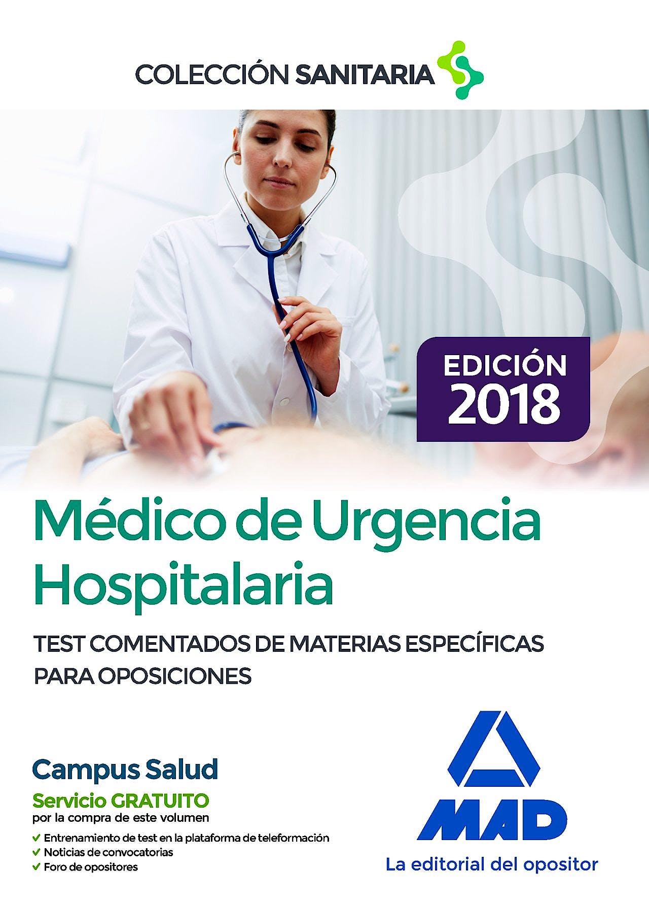 Portada del libro 9788414216484 Médico de Urgencia Hospitalaria. Test Comentados de Materias Específicas para Oposiciones