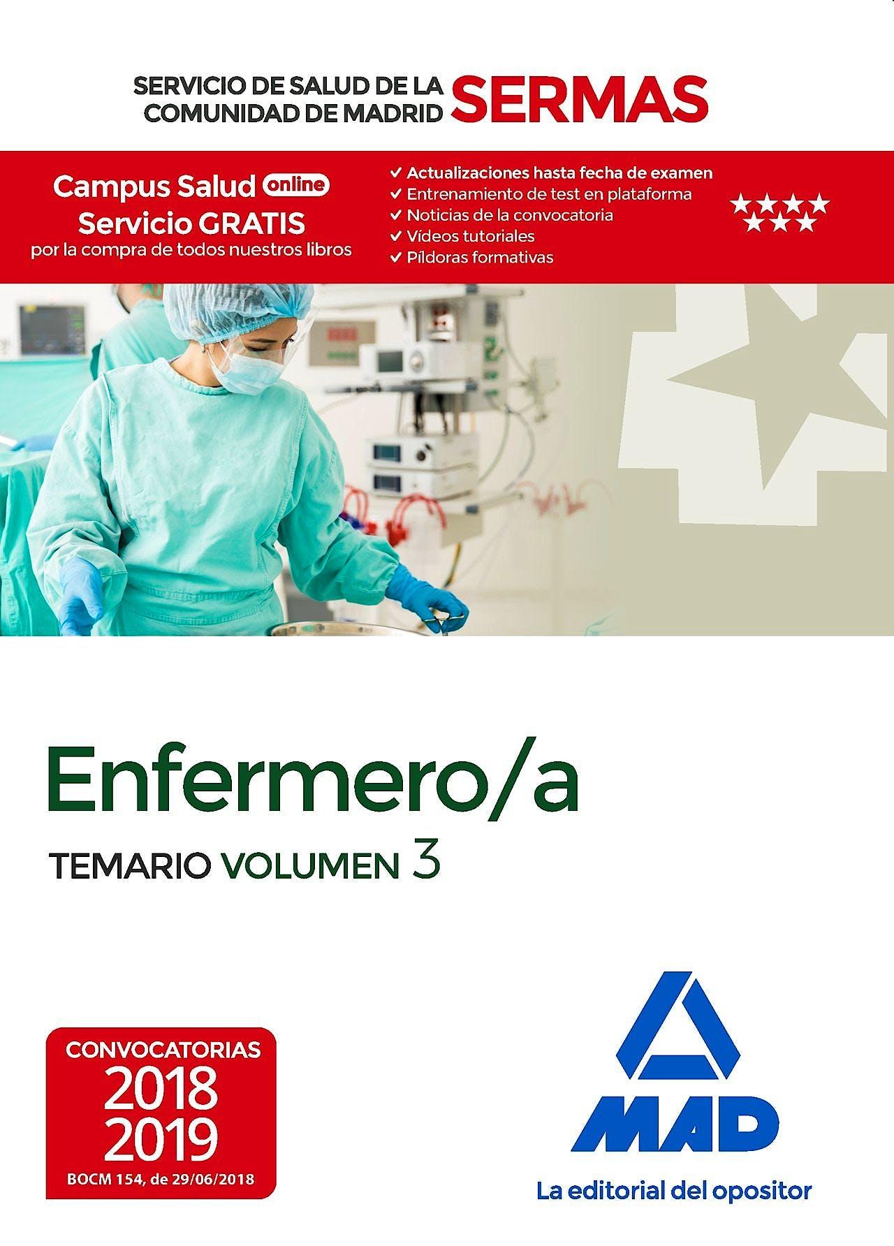 Portada del libro 9788414218181 Enfermero/a Servicio de Salud de la Comunidad de Madrid (SERMAS). Temario, Vol. 3