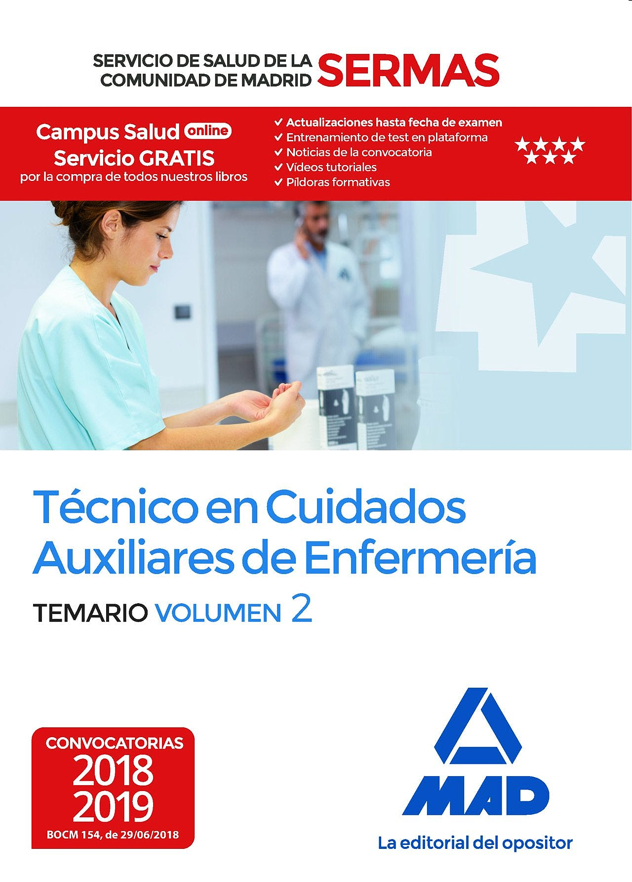 Portada del libro 9788414218228 Técnico en Cuidados Auxiliares de Enfermería Servicio de Salud de la Comunidad de Madrid (SERMAS). Temario, Vol. 2