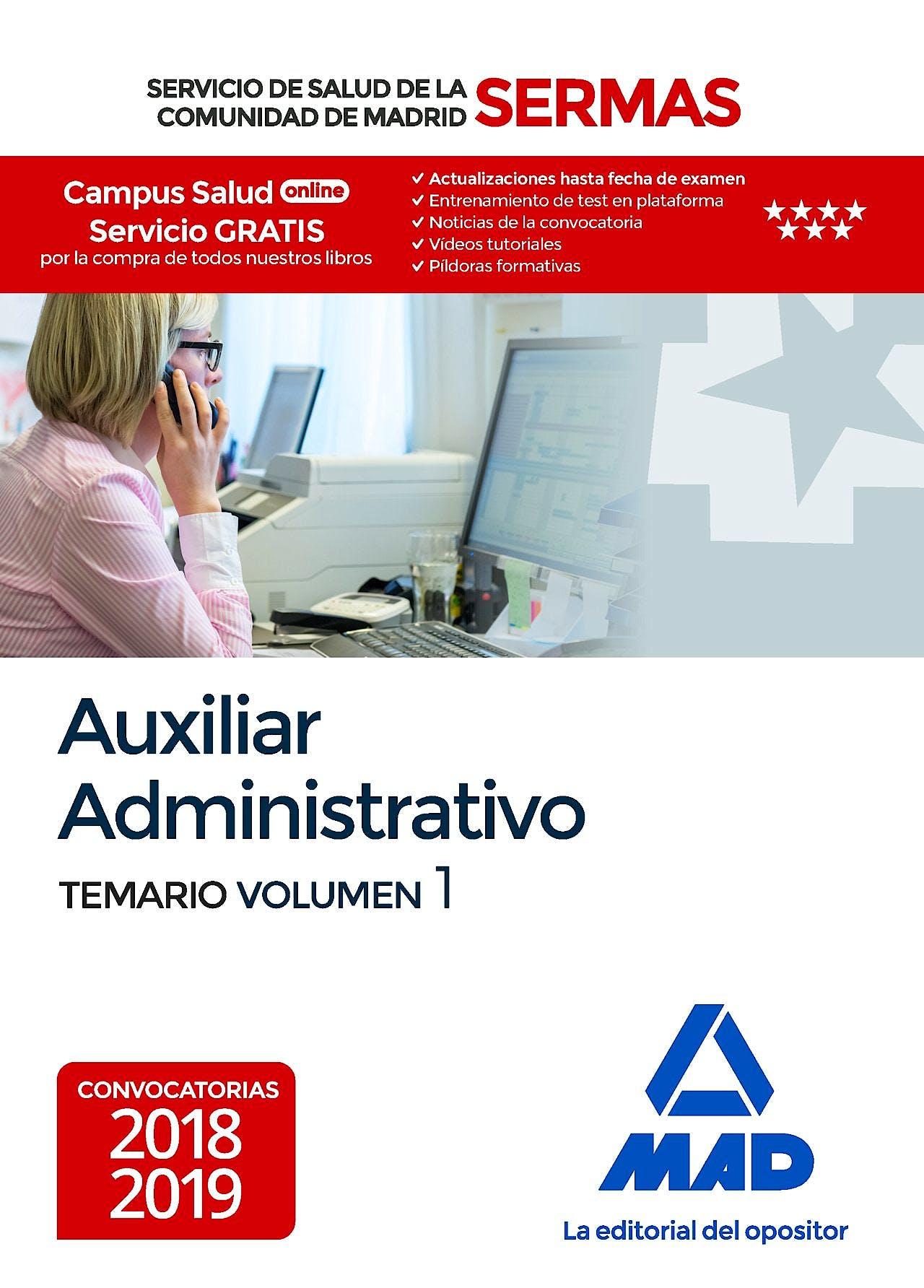 Portada del libro 9788414218259 Auxiliar Administrativo Servicio de Salud de la Comunidad de Madrid (SERMAS). Temario, Vol. 1