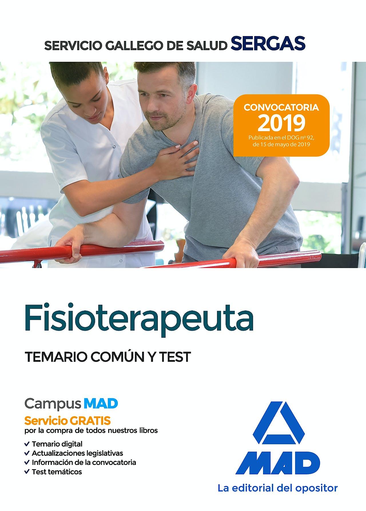 Portada del libro 9788414218389 Fisioterapeuta Servicio Gallego de Salud (SERGAS). Temario Común y Test