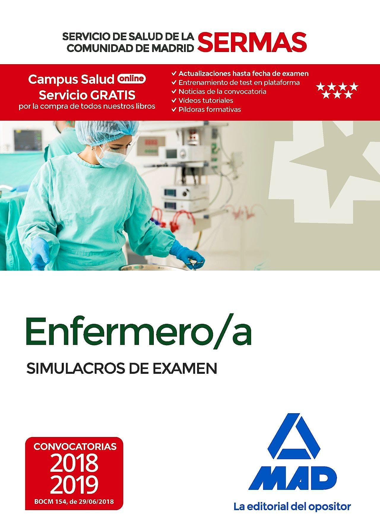 Portada del libro 9788414219270 Enfermero/a Servicio de Salud de la Comunidad de Madrid (SERMAS). Simulacros de Examen