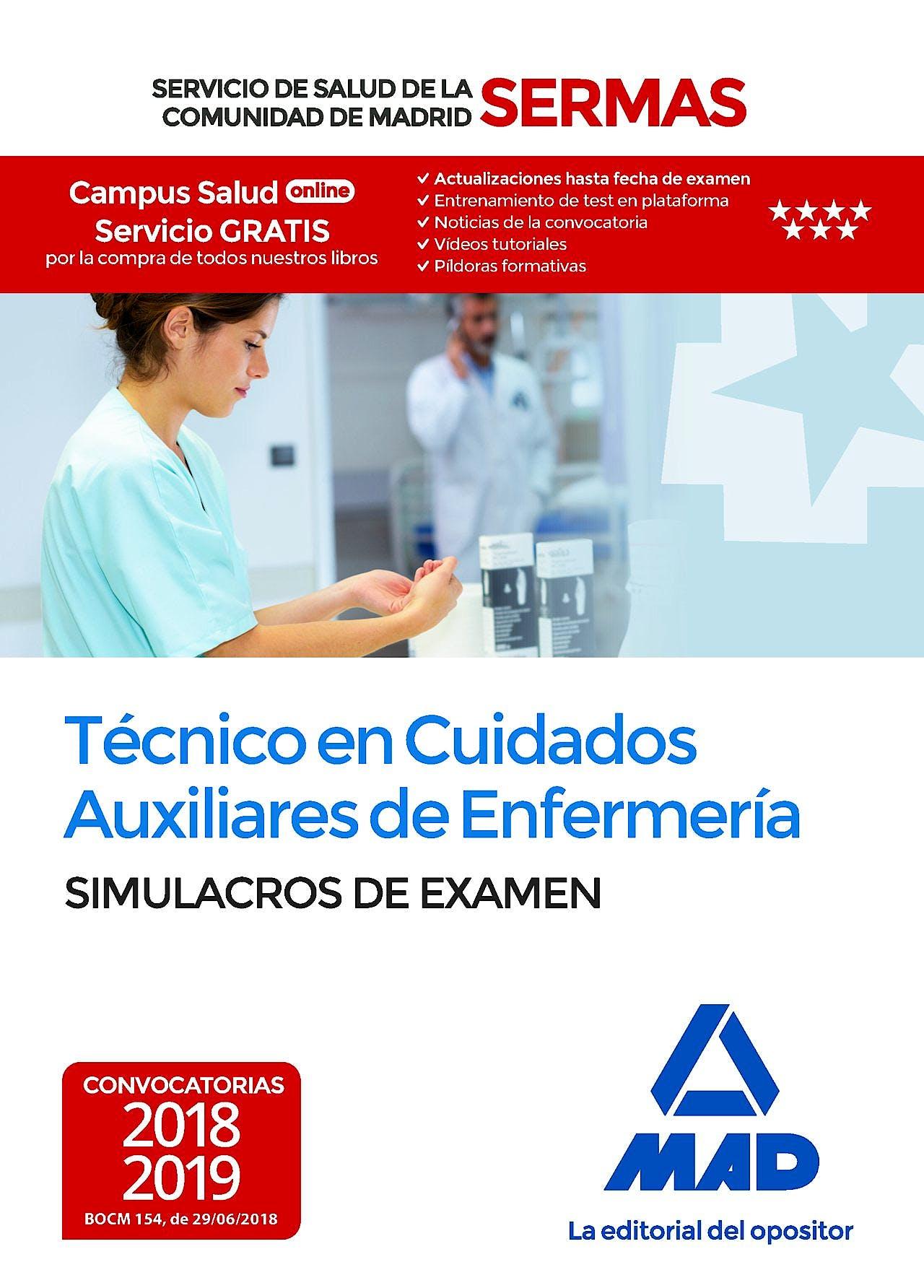 Portada del libro 9788414219294 Técnico en Cuidados Auxiliares de Enfermería Servicio de Salud de la Comunidad de Madrid (SERMAS). Simulacros de Examen