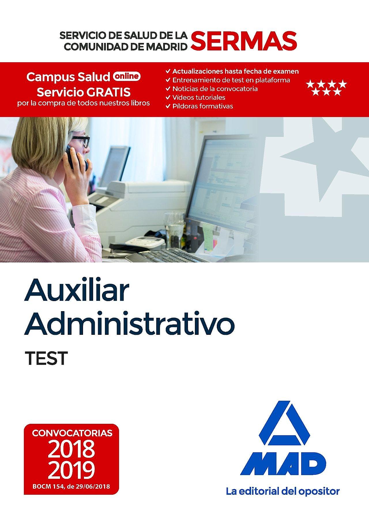 Portada del libro 9788414219300 Auxiliar Administrativo Servicio de Salud de la Comunidad de Madrid (SERMAS). Test