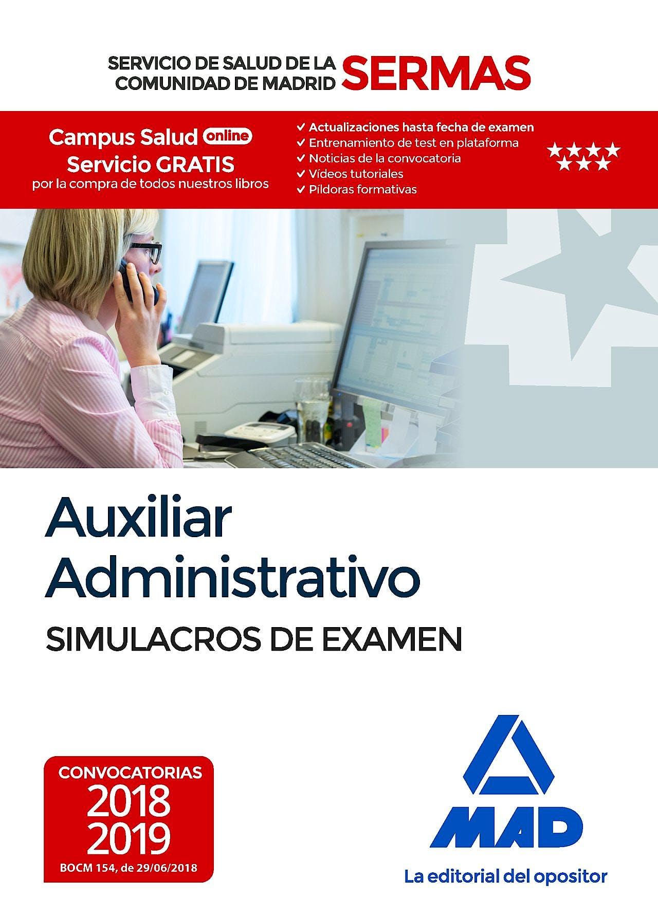 Portada del libro 9788414219317 Auxiliar Administrativo Servicio de Salud de la Comunidad de Madrid (SERMAS). Simulacros de Examen