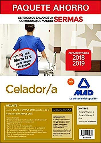 Portada del libro 9788414219379 Paquete Ahorro Celador/a Servicio de Salud de la Comunidad de Madrid (SERMAS) (Total 4 libros e Incluye Acceso a Campus Oro)