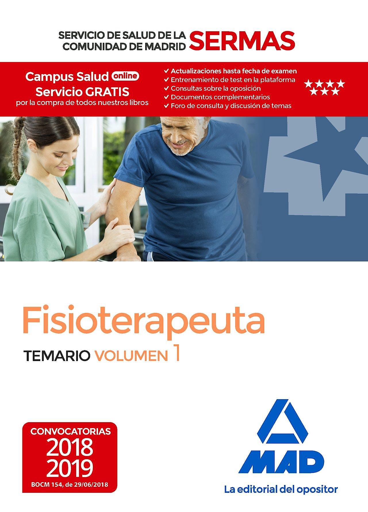 Portada del libro 9788414219553 Fisioterapeuta Servicio de Salud de la Comunidad de Madrid (SERMAS). Temario, Vol. 1