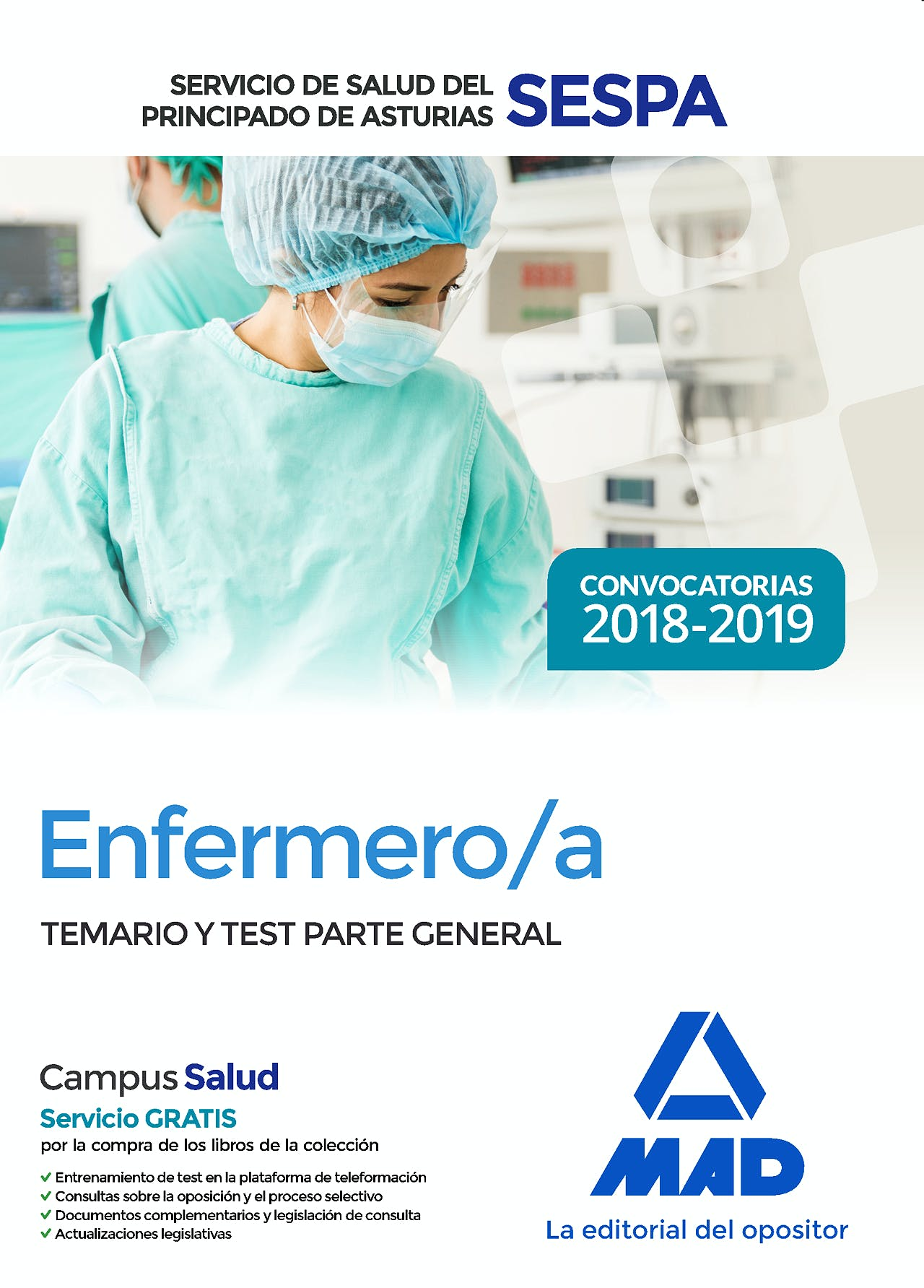 Portada del libro 9788414220214 Enfermero/a Servicio de Salud del Principado de Asturias (SESPA). Temario y Test Parte General