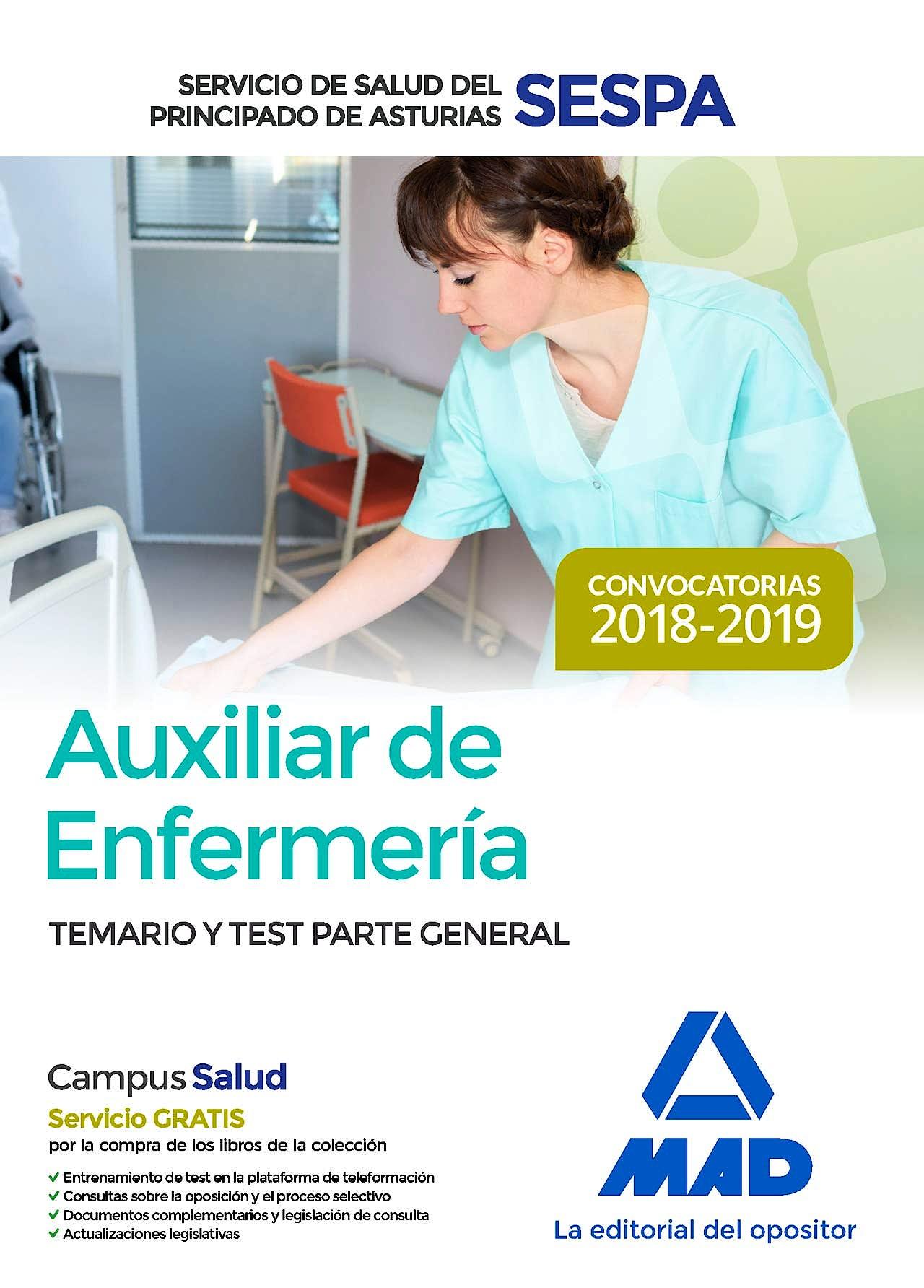 Portada del libro 9788414220351 Auxiliar de Enfermería Servicio de Salud del Principado de Asturias (SESPA). Temario y Test Parte General