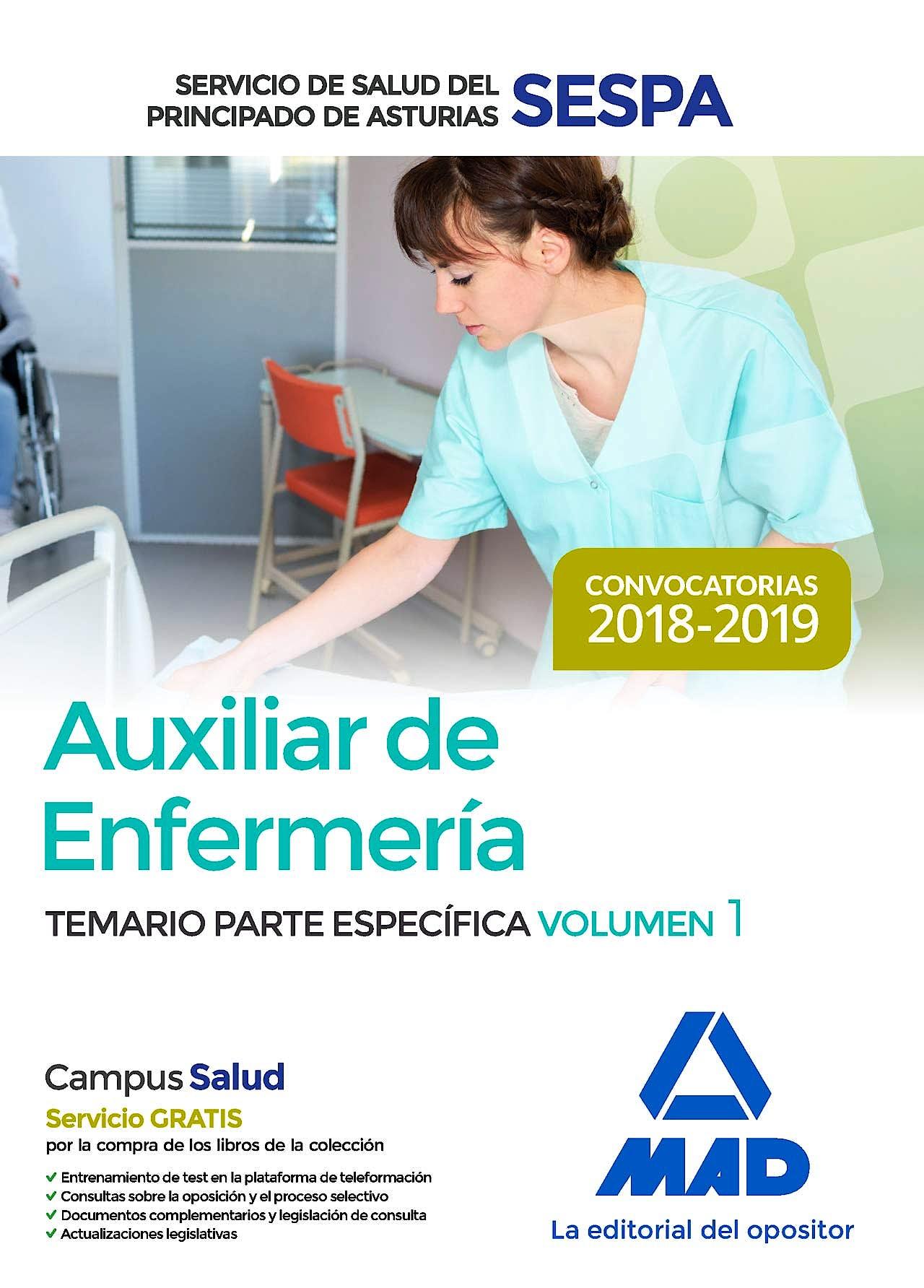 Portada del libro 9788414220368 Auxiliar de Enfermería Servicio de Salud del Principado de Asturias (SESPA). Temario Parte Específica, Vol. 1