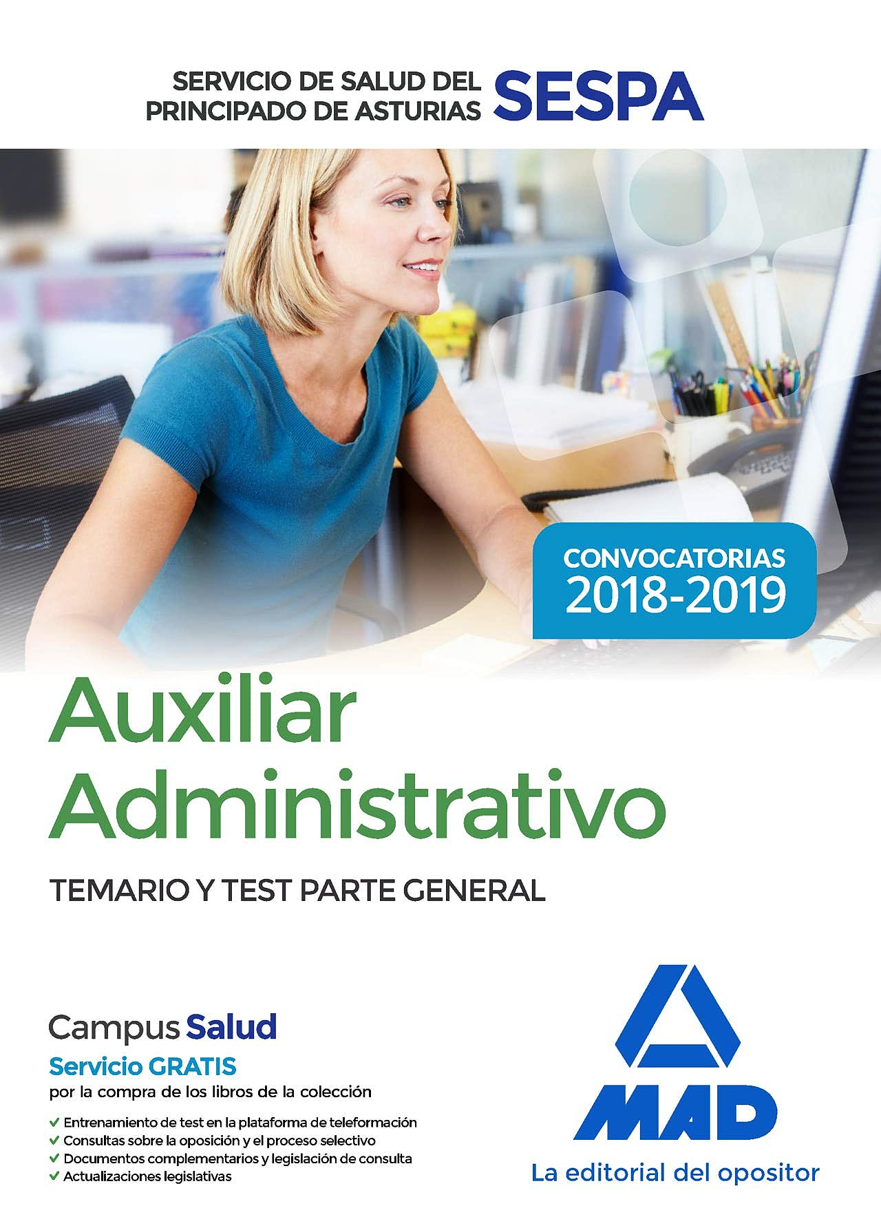 Portada del libro 9788414220429 Auxiliar Administrativo Servicio de Salud del Principado de Asturias (SESPA). Temario y Test Parte General