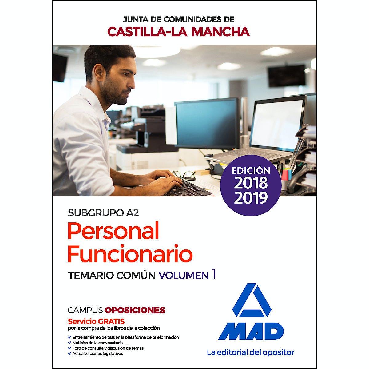 Portada del libro 9788414221549 Personal Funcionario (Subgrupo A2) de la Administración de la Junta de Comunidades de Castilla-La Mancha. Temario Común Vol.1
