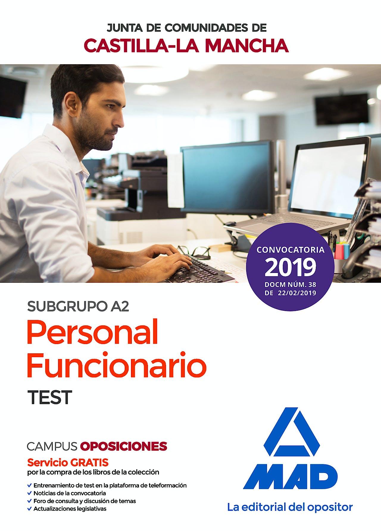 Portada del libro 9788414223475 Personal Funcionario (Subgrupo A2) de la Administración de la Junta de Comunidades de Castilla-La Mancha. Test