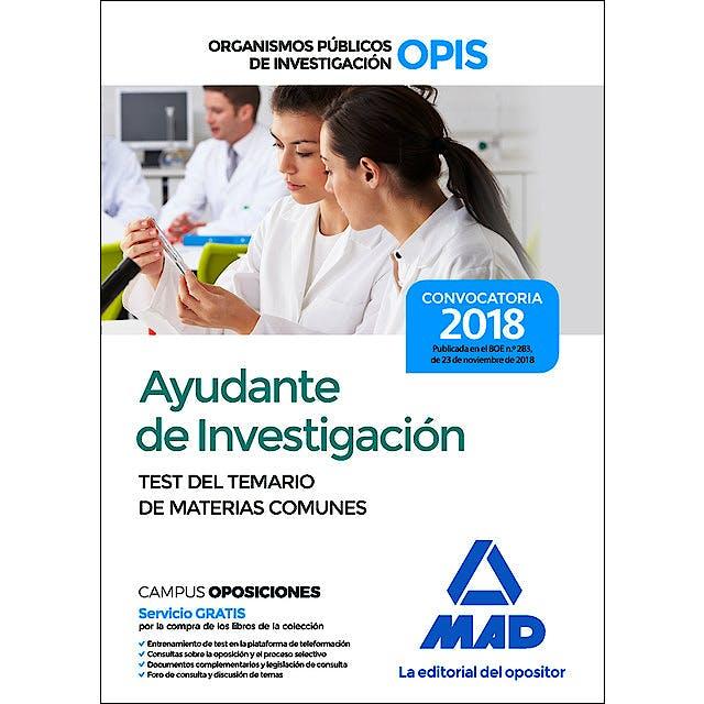 Portada del libro 9788414223581 Ayudante de Investigación de los Organismos Públicos de Investigación. Test del Temario de Materias Comunes