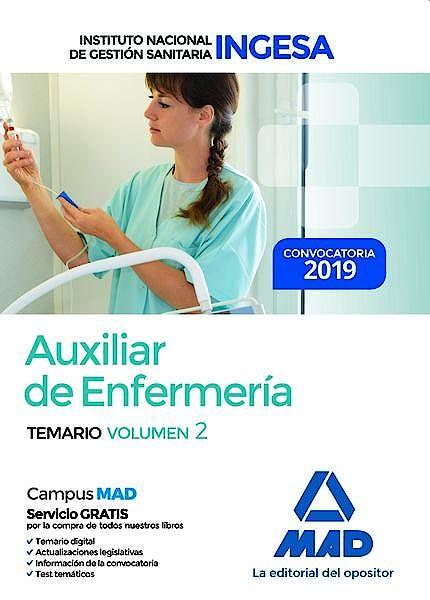 Portada del libro 9788414226124 Auxiliar de Enfermería Instituto Nacional de Gestión Sanitaria (INGESA). Temario, Vol. 2