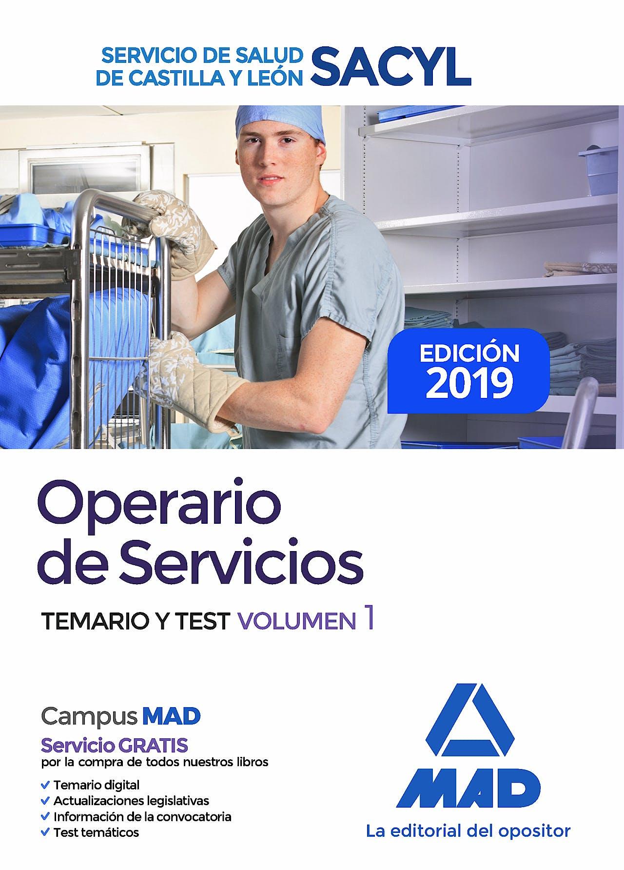Portada del libro 9788414226599 Operario de Servicios Servicio de Salud de Castilla y León (SACYL). Temario y Test, Vol. 1