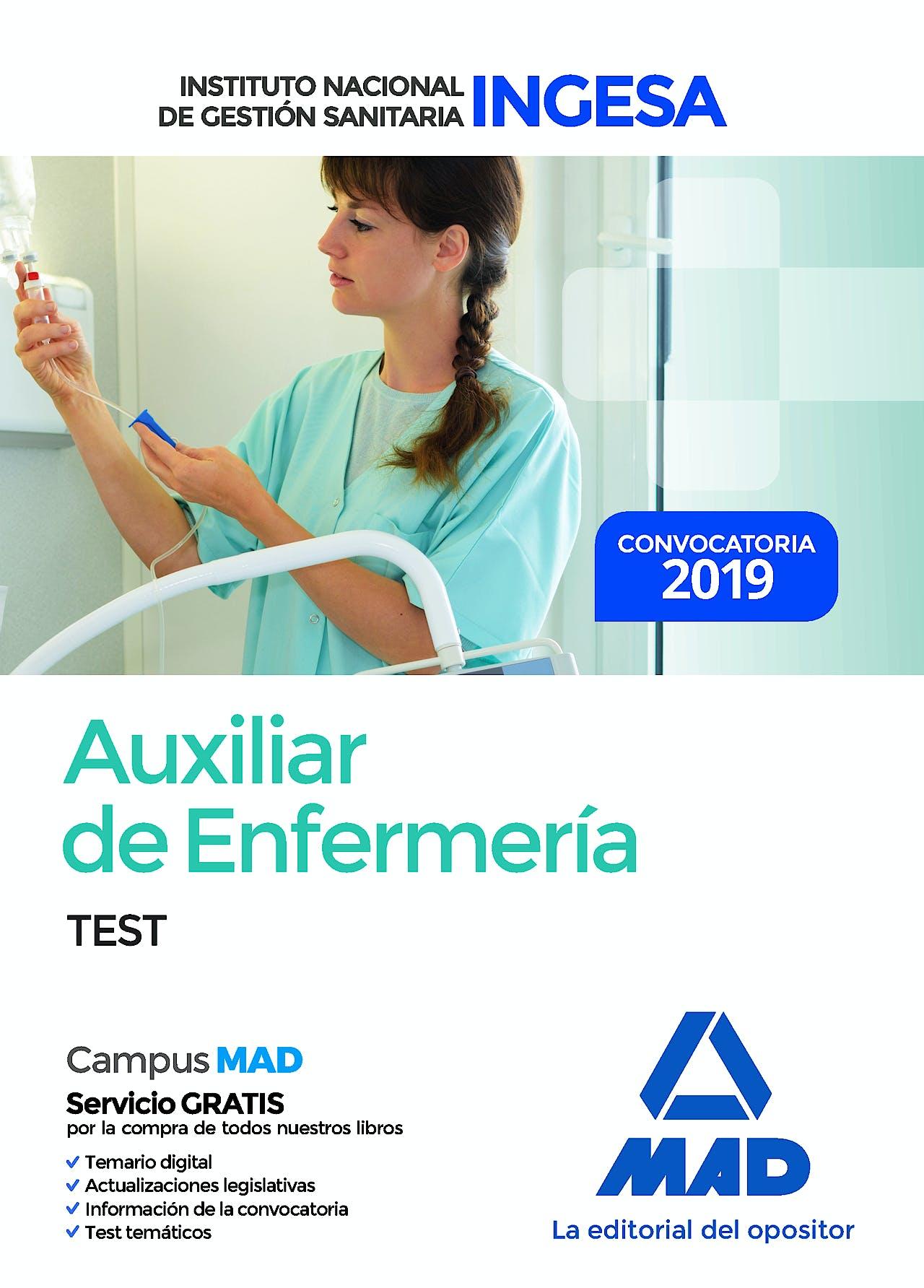 Portada del libro 9788414226810 Auxiliar de Enfermería Instituto Nacional de Gestión Sanitaria (INGESA). Test
