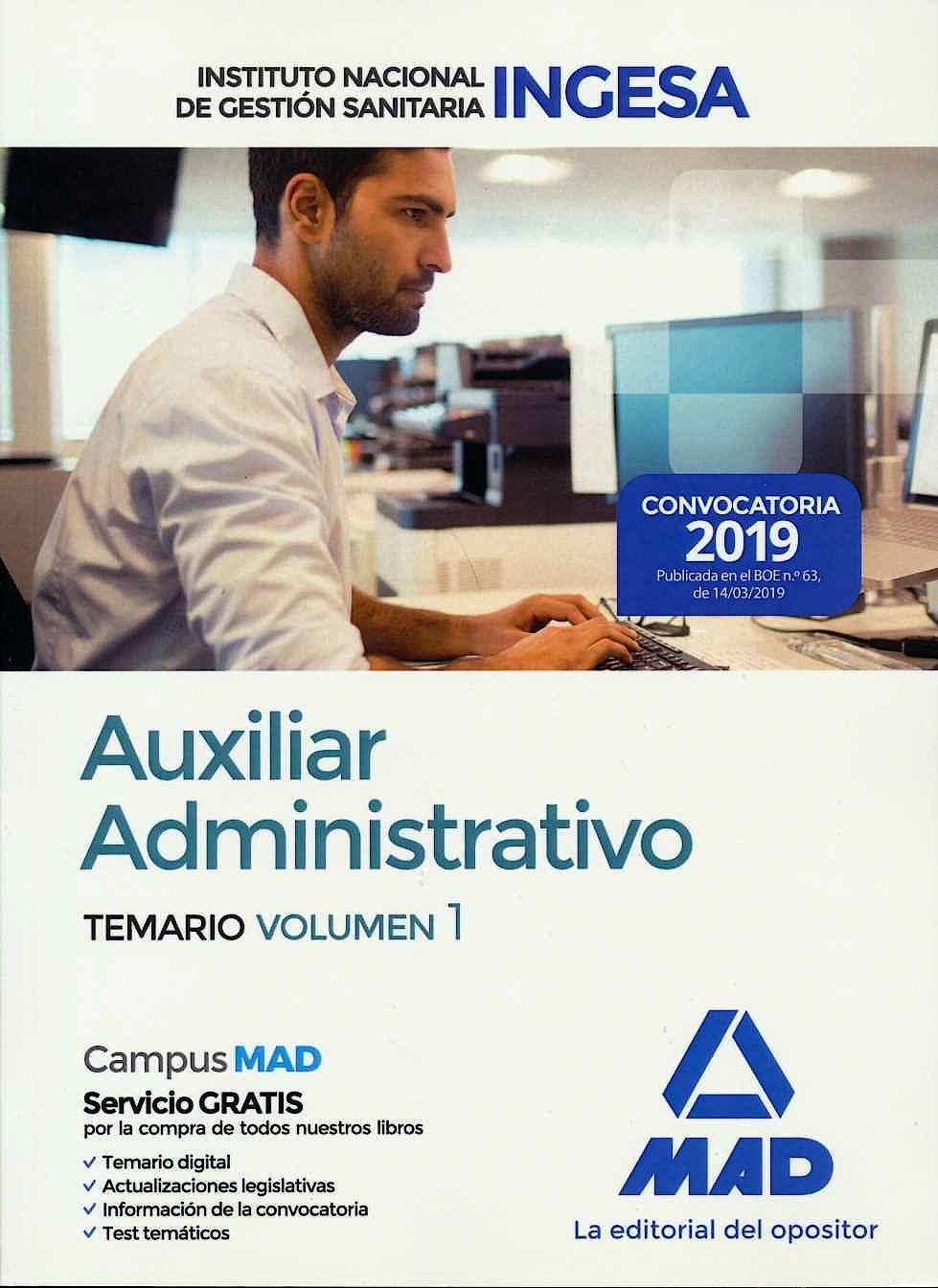Portada del libro 9788414226827 Auxiliar Administrativo Instituto Nacional de Gestión Sanitaria (INGESA). Temario, Vol. 1