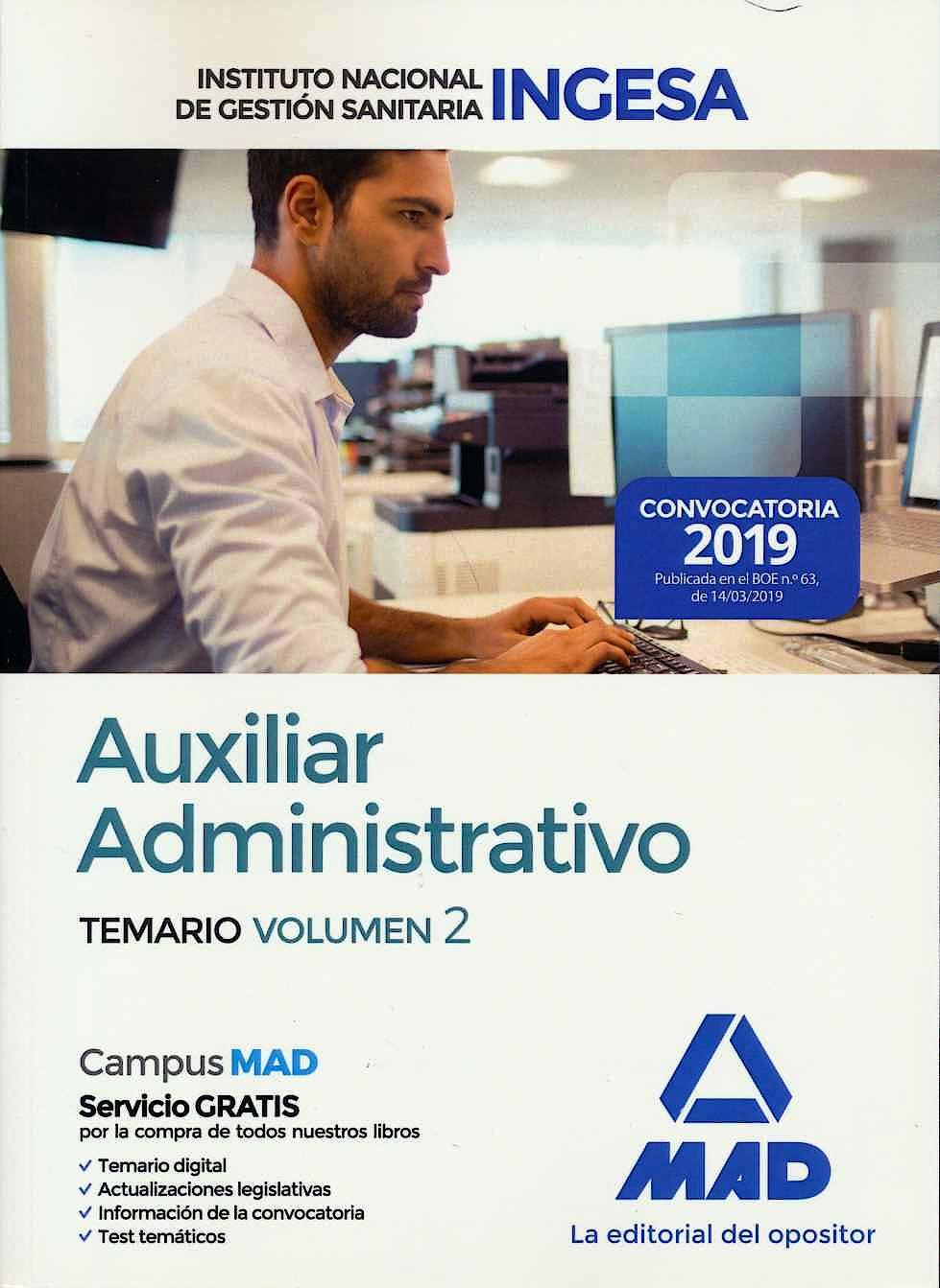 Portada del libro 9788414226834 Auxiliar Administrativo Instituto Nacional de Gestión Sanitaria (INGESA). Temario, Vol. 2