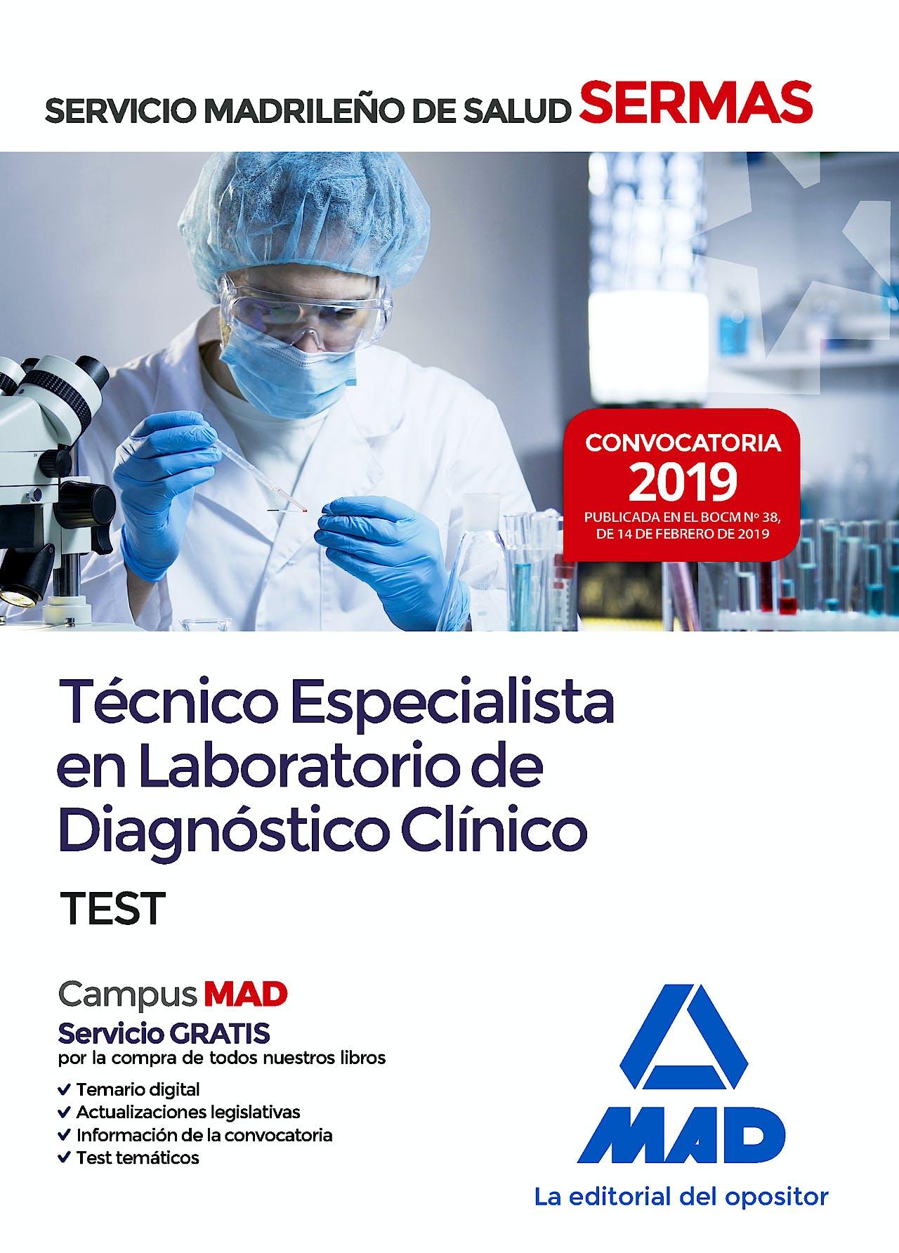 Portada del libro 9788414227428 Técnico Especialista en Laboratorio de Diagnóstico Clínico Servicio Madrileño de Salud (SERMAS). Test