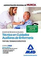 Portada del libro 9788414228012 Cuerpo de Técnicos Auxiliares Técnico en Cuidados Auxiliares de Enfermería Administración Regional de Murcia. Test del Temario Específico