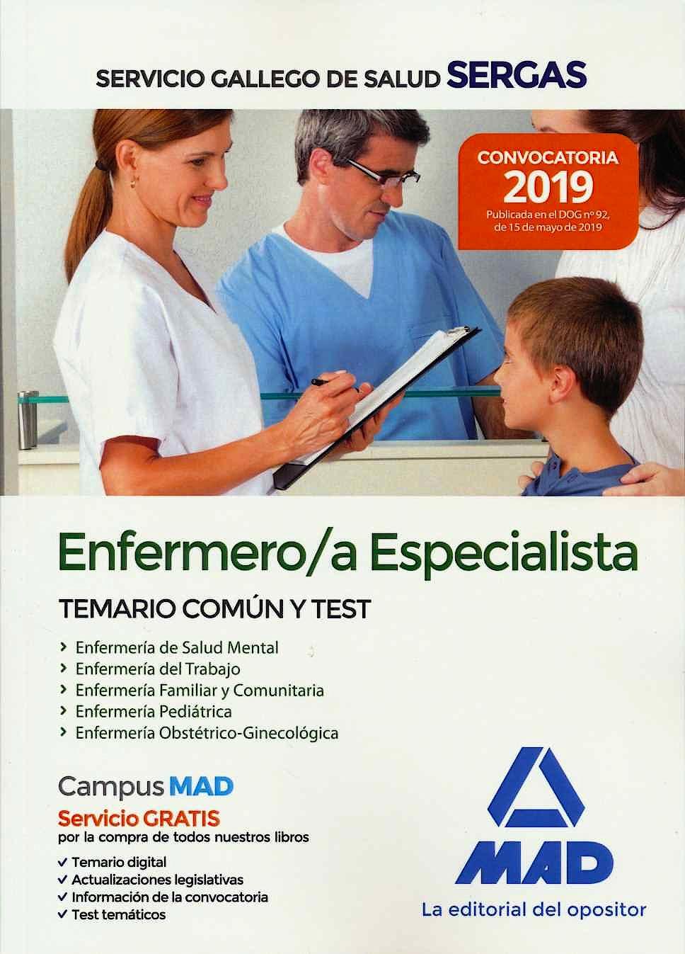 Portada del libro 9788414228333 Enfermero/a Especialista Servicio Gallego de Salud (SERGAS). Temario Común y Test