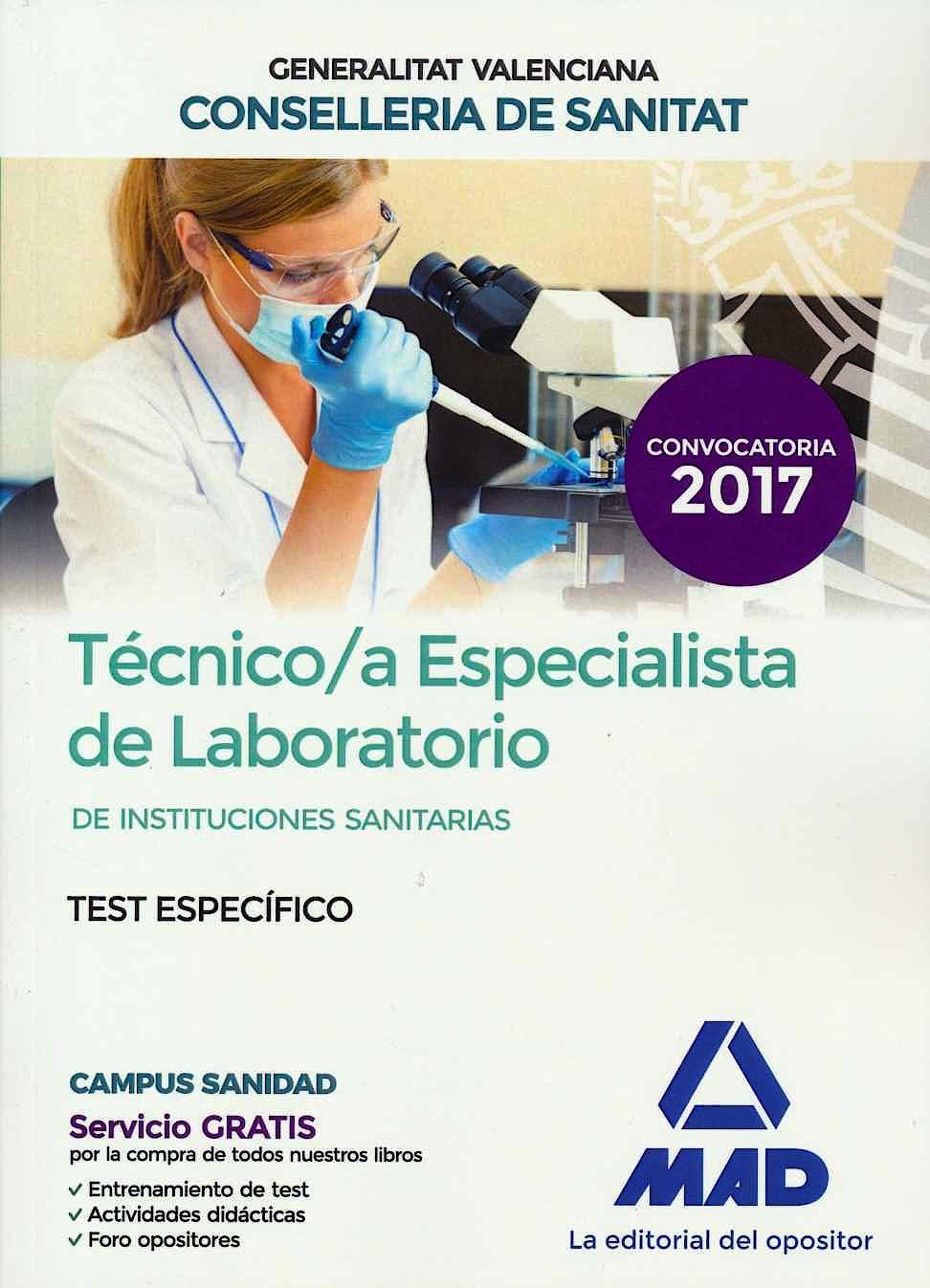 Portada del libro 9788414228487 Técnico/a Especialista de Laboratorio de Instituciones Sanitarias Generalitat Valenciana Conselleria de Sanitat. Test Específico