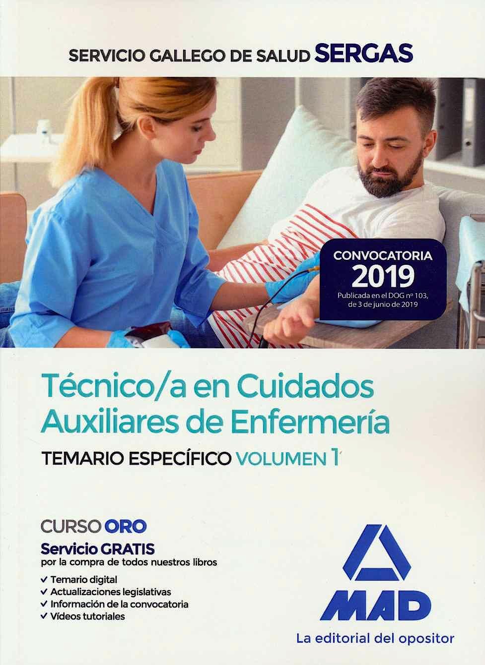 Portada del libro 9788414228722 Técnico/a en Cuidados Auxiliares de Enfermería Servicio Gallego de Salud (SERGAS). Temario Específico, Vol. 1