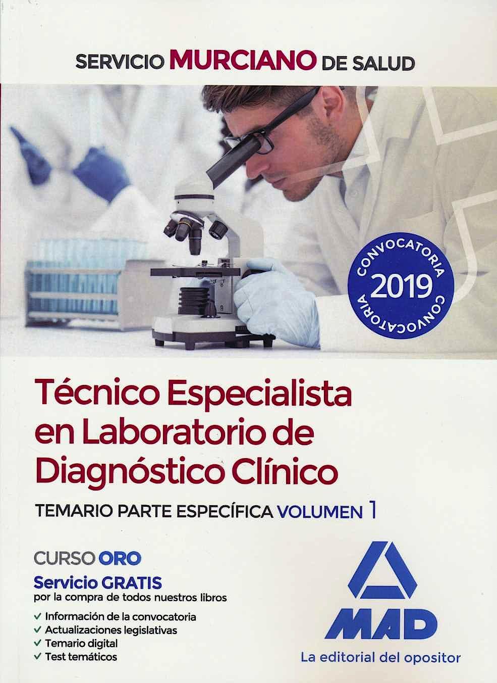 Portada del libro 9788414228869 Técnico Especialista en Laboratorio de Diagnóstico Clínico Servicio Murciano de Salud. Temario Parte Específica, Vol. 1