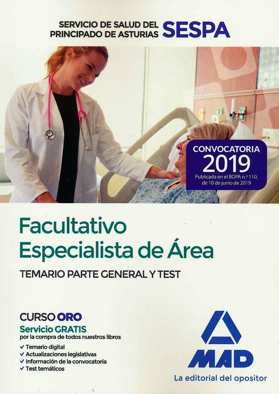 Portada del libro 9788414229095 Facultativo Especialista de Área Servicio de Salud del Principado de Asturias (SESPA). Temario Parte General y Test