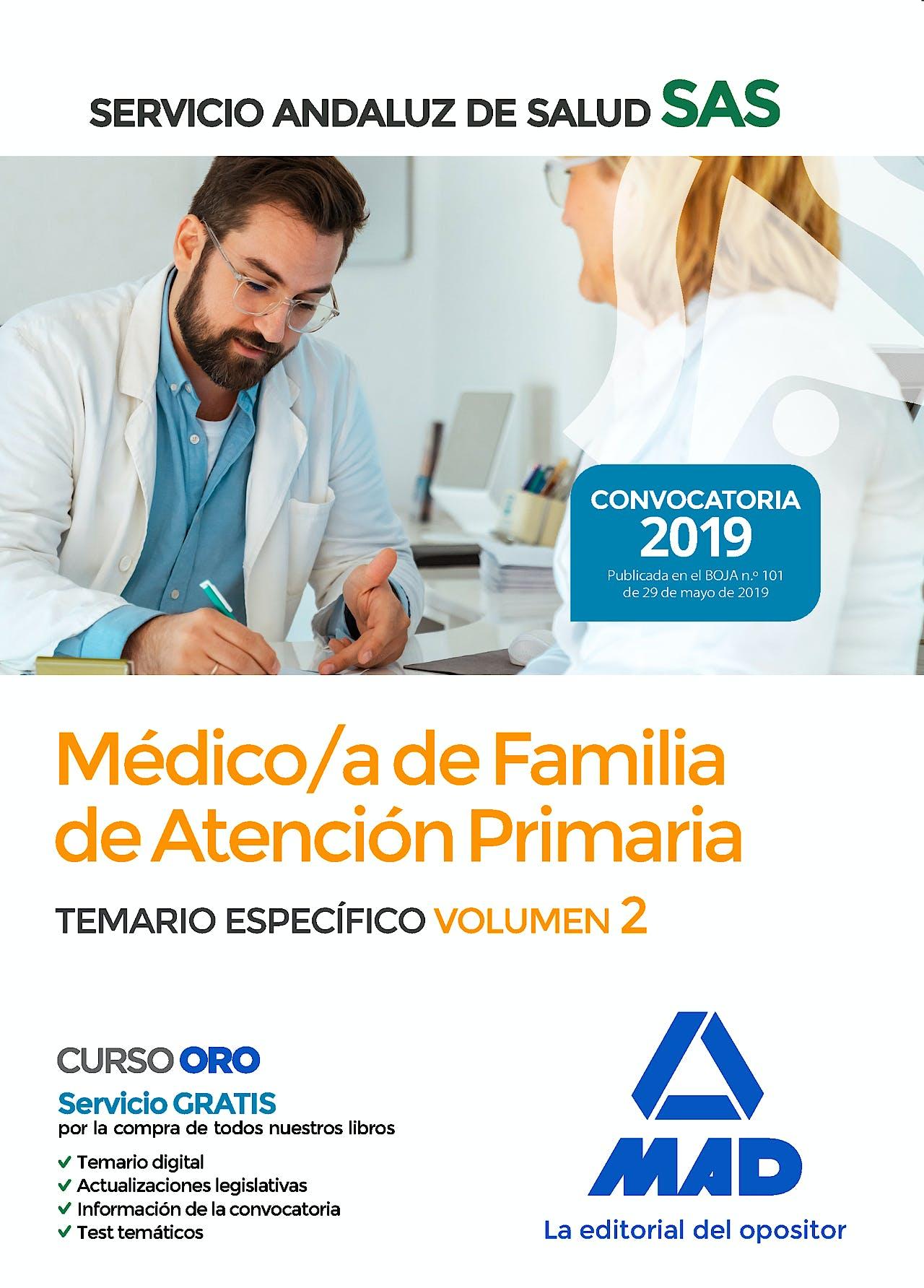 Portada del libro 9788414229699 Médico de Familia de Atención Primaria Servicio Andaluz de Salud (SAS). Temario Específico, Vol. 2