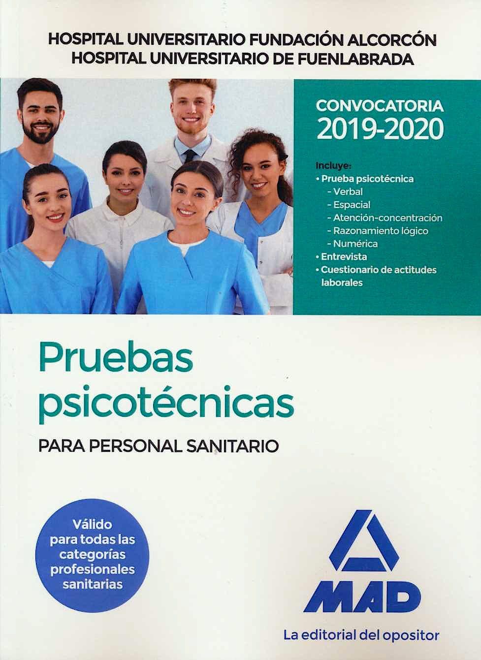 Portada del libro 9788414232842 Pruebas Psicotécnicas para Personal Sanitario Hospital Universitario Fundación Alcorcón y Hospital Universitario de Fuenlabrada