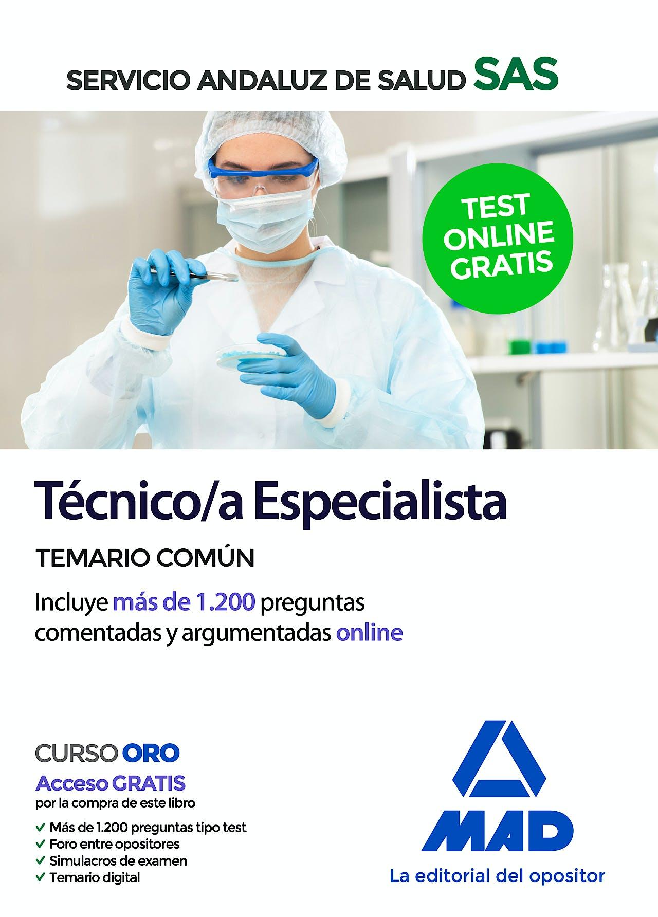 Portada del libro 9788414235003 Técnico/a Especialista Servicio Andaluz de Salud (SAS). Temario Común