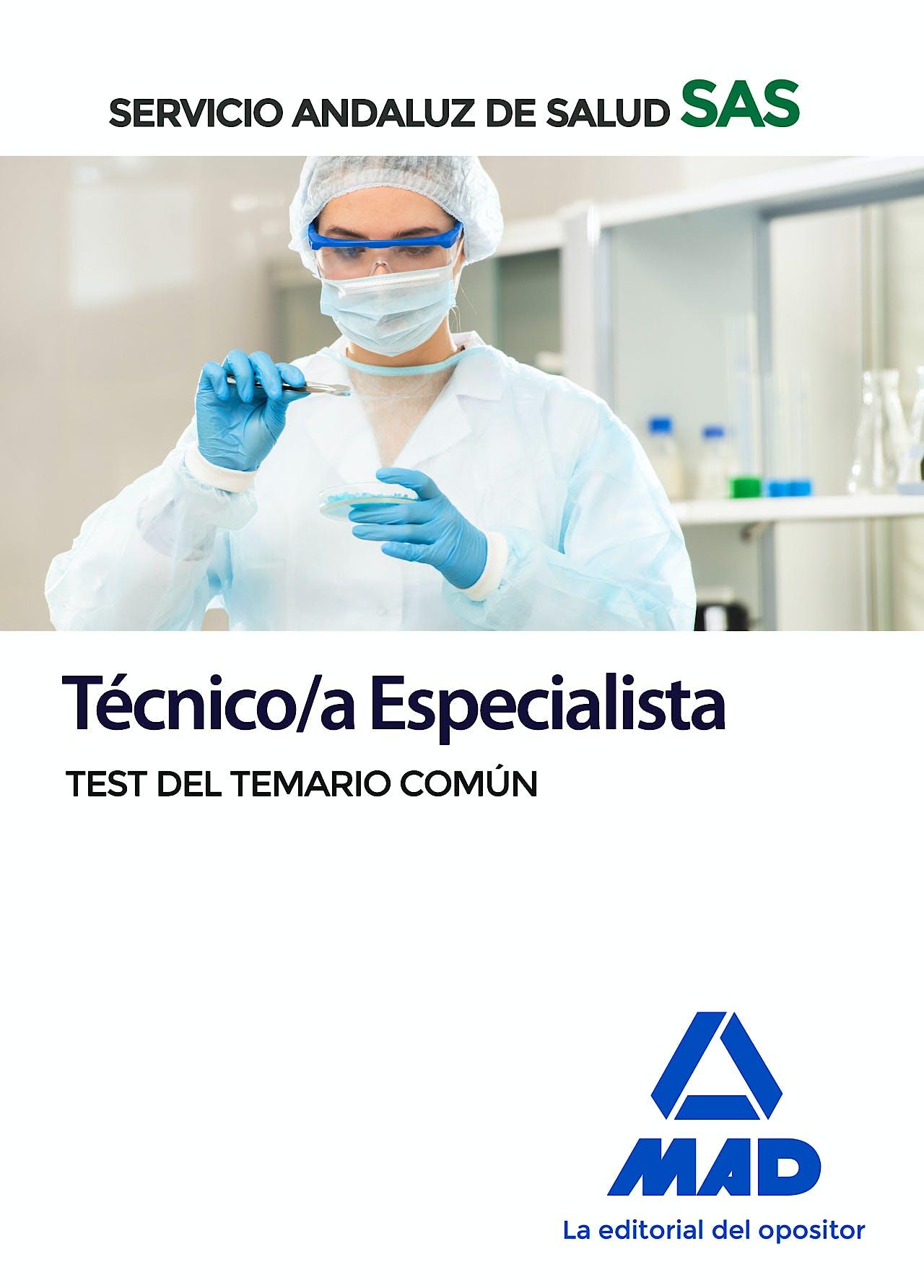 Portada del libro 9788414235010 Técnico/a Especialista Servicio Andaluz de Salud (SAS). Test del Temario Común