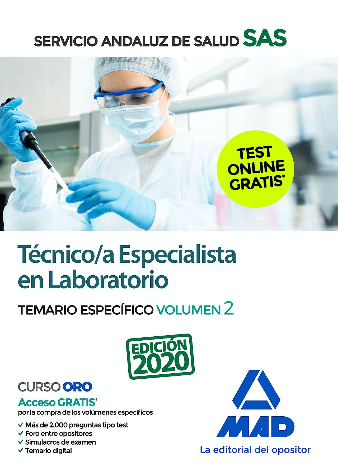 Portada del libro 9788414235034 Técnico/a Especialista en Laboratorio Servicio Andaluz de Salud (SAS). Temario Específico, Vol. 2