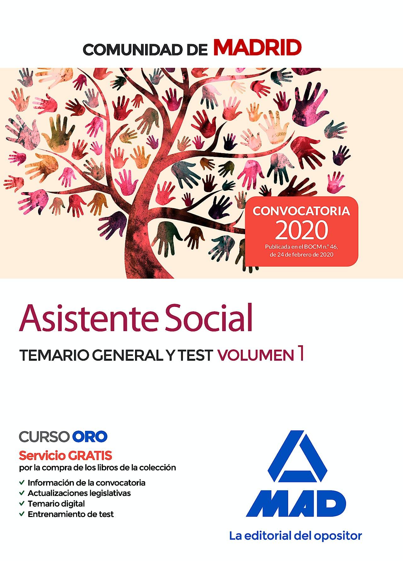 Portada del libro 9788414236178 Asistente Social Comunidad de Madrid. Temario General y Test, Vol. 1