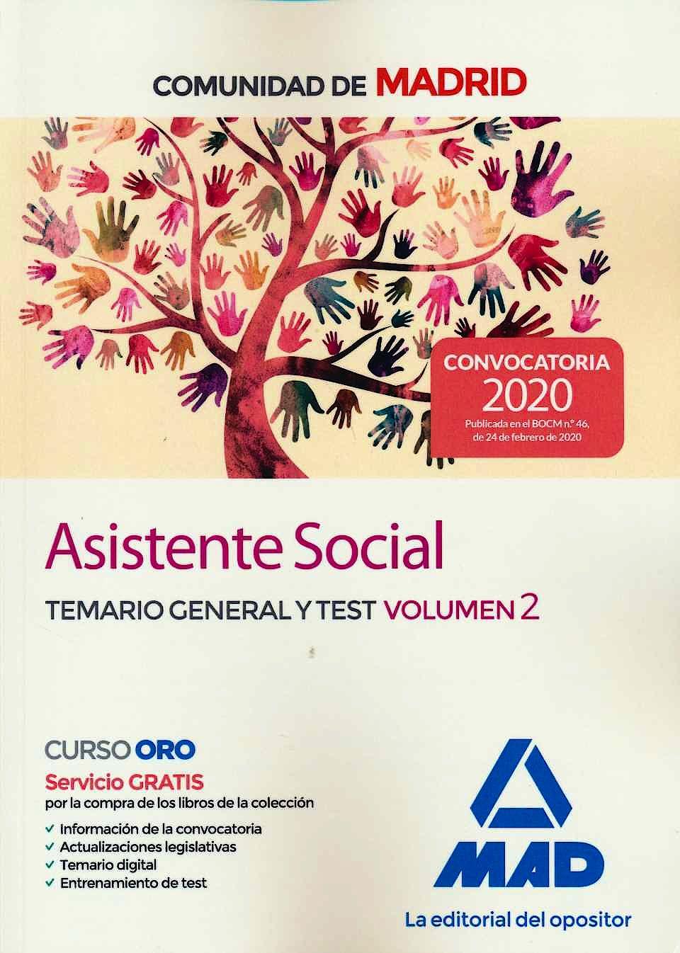Portada del libro 9788414236185 Asistente Social Comunidad de Madrid. Temario General y Test, Vol. 2