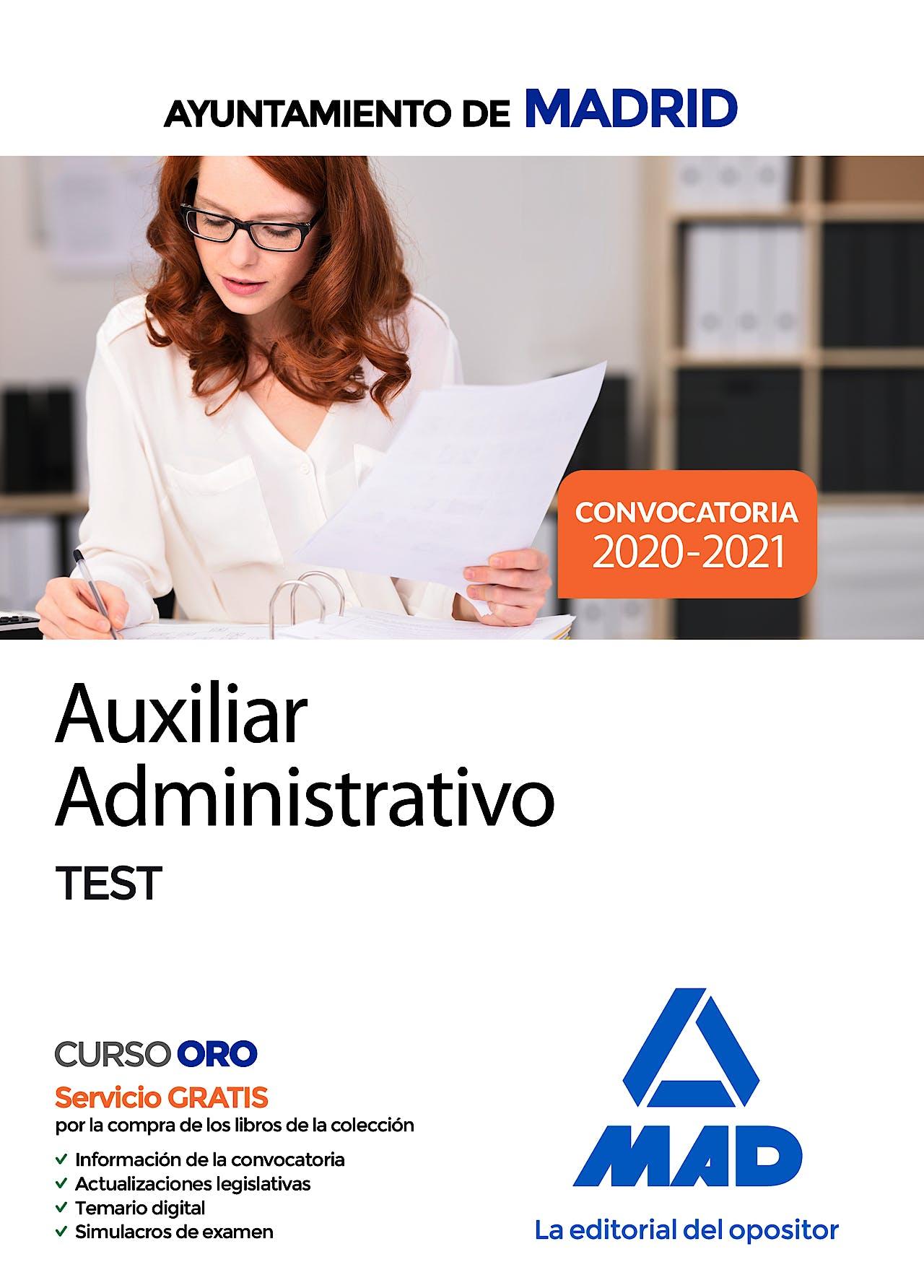 Portada del libro 9788414237212 Auxiliar Administrativo Ayuntamiento de Madrid. Test