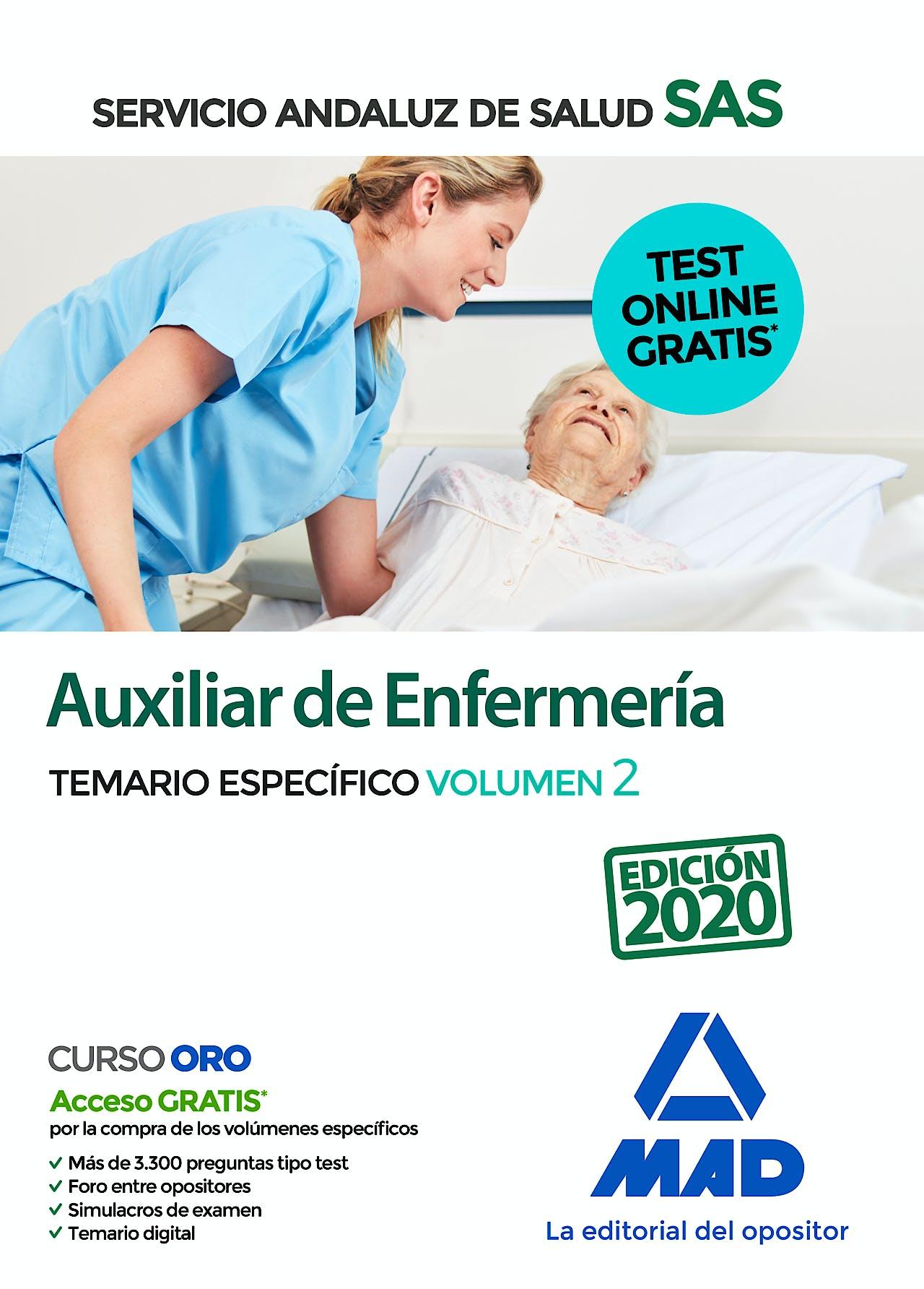Portada del libro 9788414237694 Auxiliar de Enfermería Servicio Andaluz de Salud (SAS). Temario Específico, Vol. 2