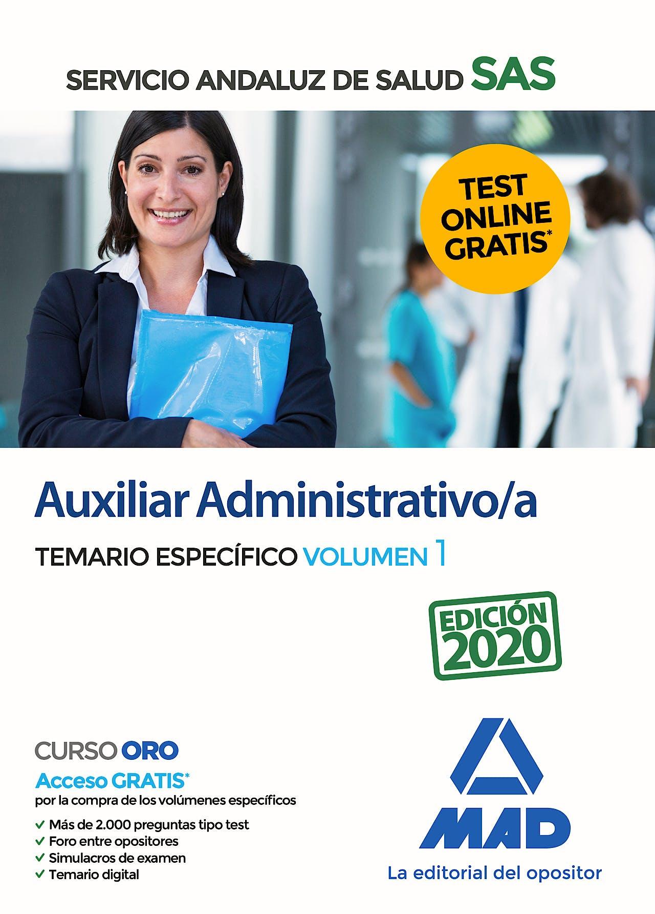 Portada del libro 9788414237748 Auxiliar Administrativo/a del Servicio Andaluz de Salud. Temario Específico, Vol. 1