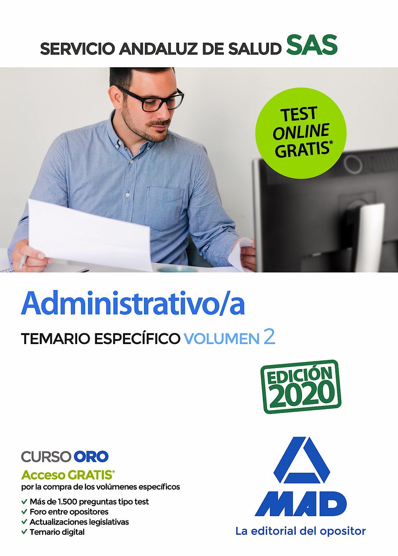 Portada del libro 9788414237809 Administrativo/a Servicio Andaluz de Salud (SAS). Temario Específico, Vol. 2