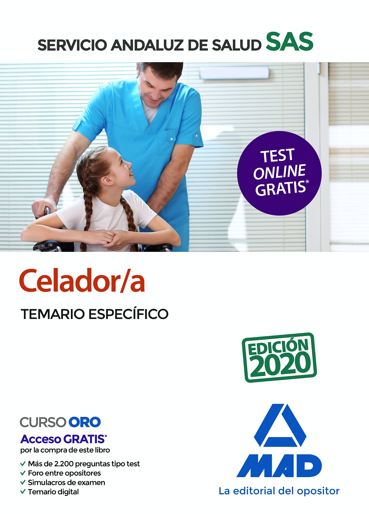 Portada del libro 9788414238134 Celador/a Servicio Andaluz de Salud (SAS). Temario Específico