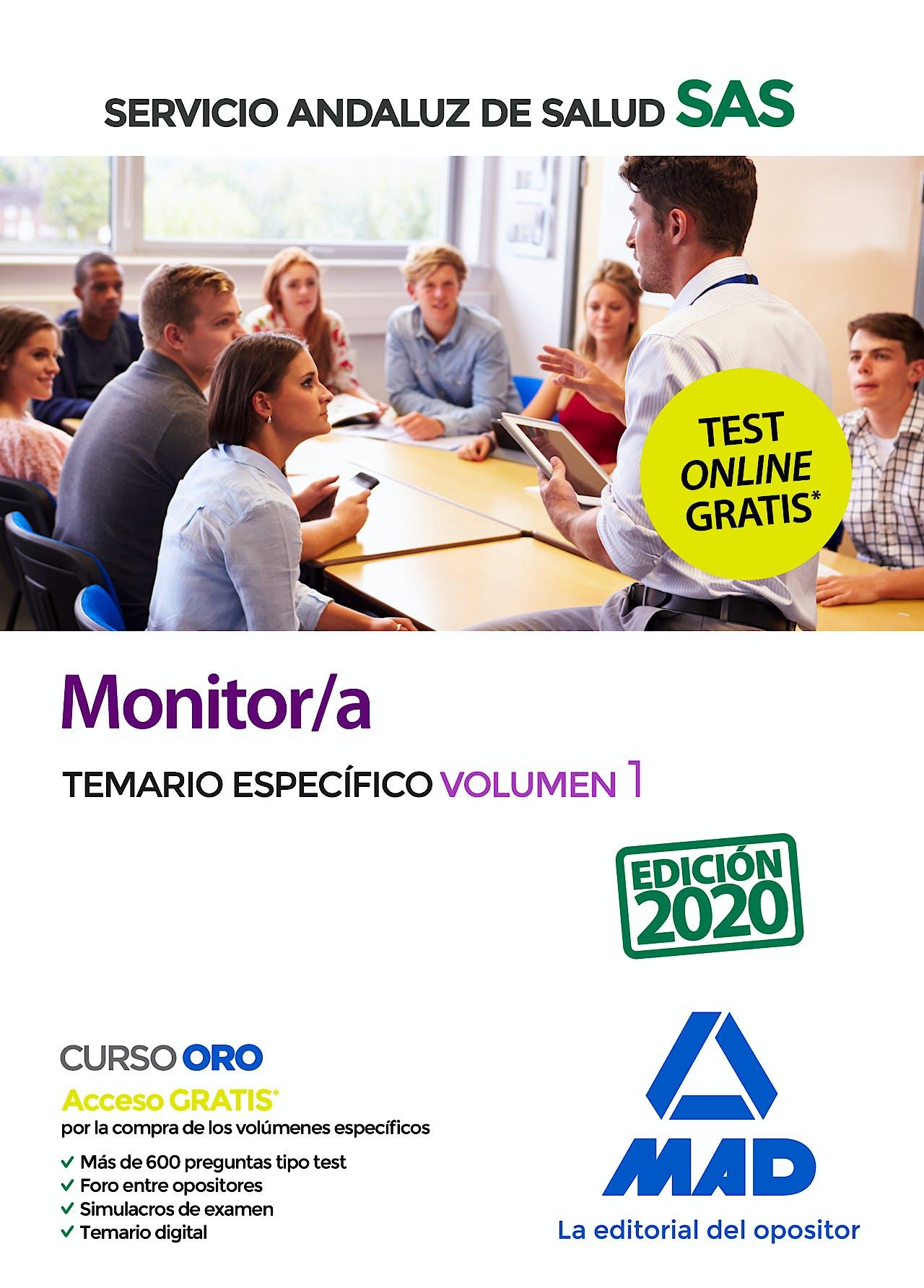 Portada del libro 9788414238417 Monitor/a Servicio Andaluz de Salud (SAS). Temario Específico, Vol. 1