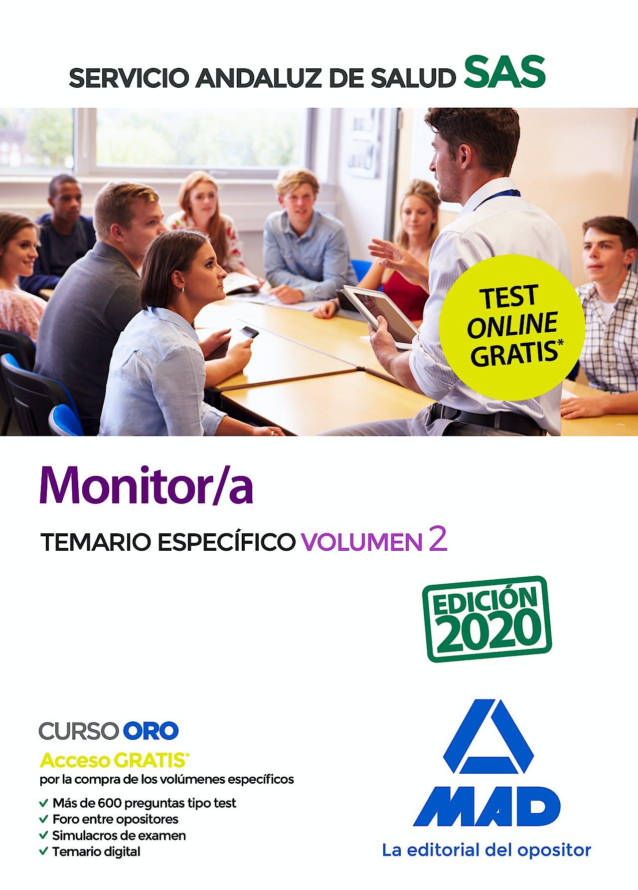 Portada del libro 9788414238424 Monitor/a Servicio Andaluz de Salud (SAS). Temario Específico, Vol. 2