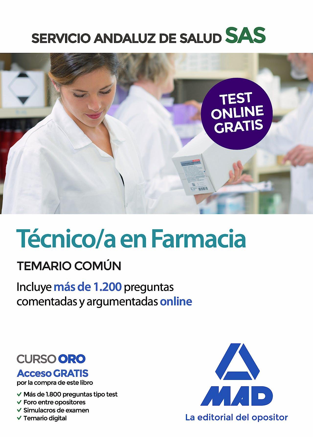 Portada del libro 9788414238516 Técnico/a en Farmacia Servicio Andaluz de Salud (SAS). Temario Común