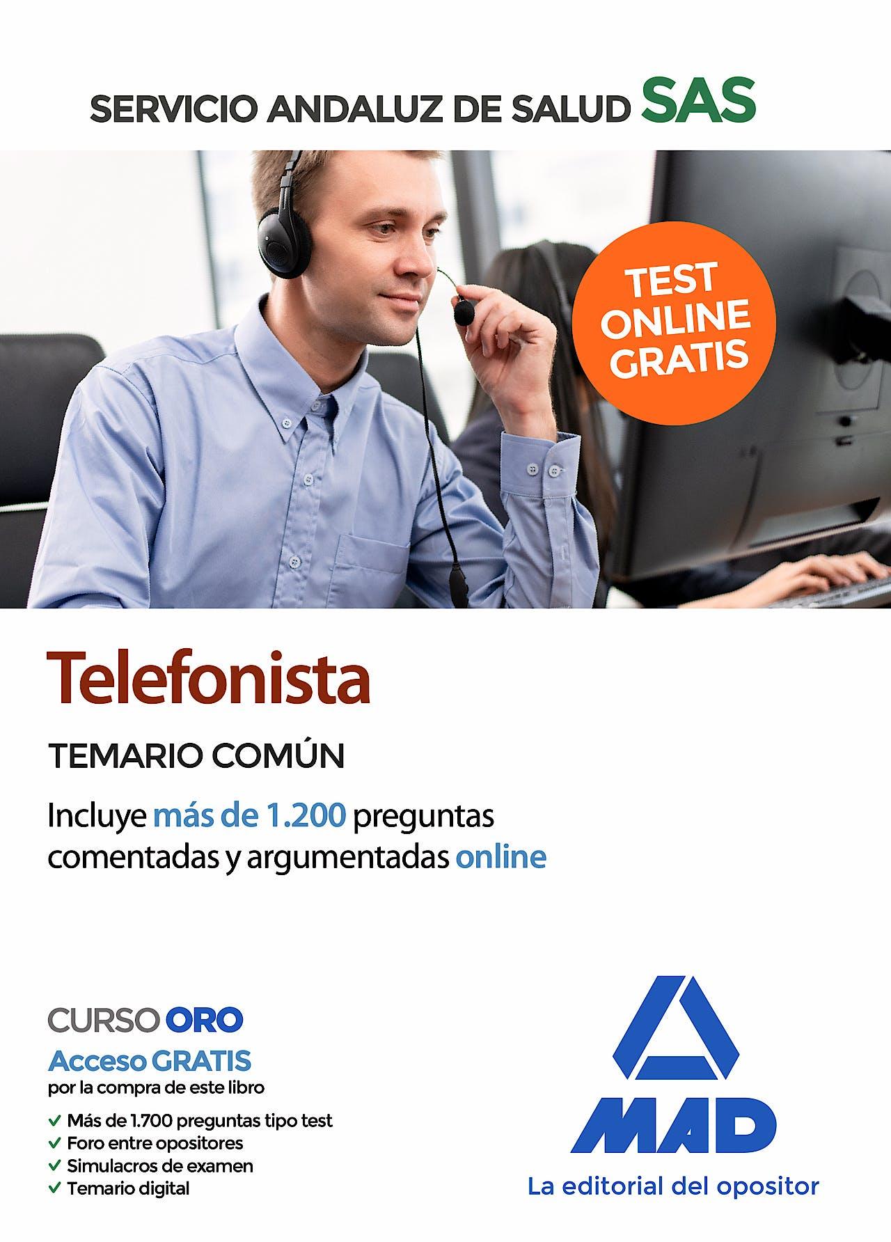 Portada del libro 9788414238561 Telefonista Servicio Andaluz de Salud (SAS). Temario Común