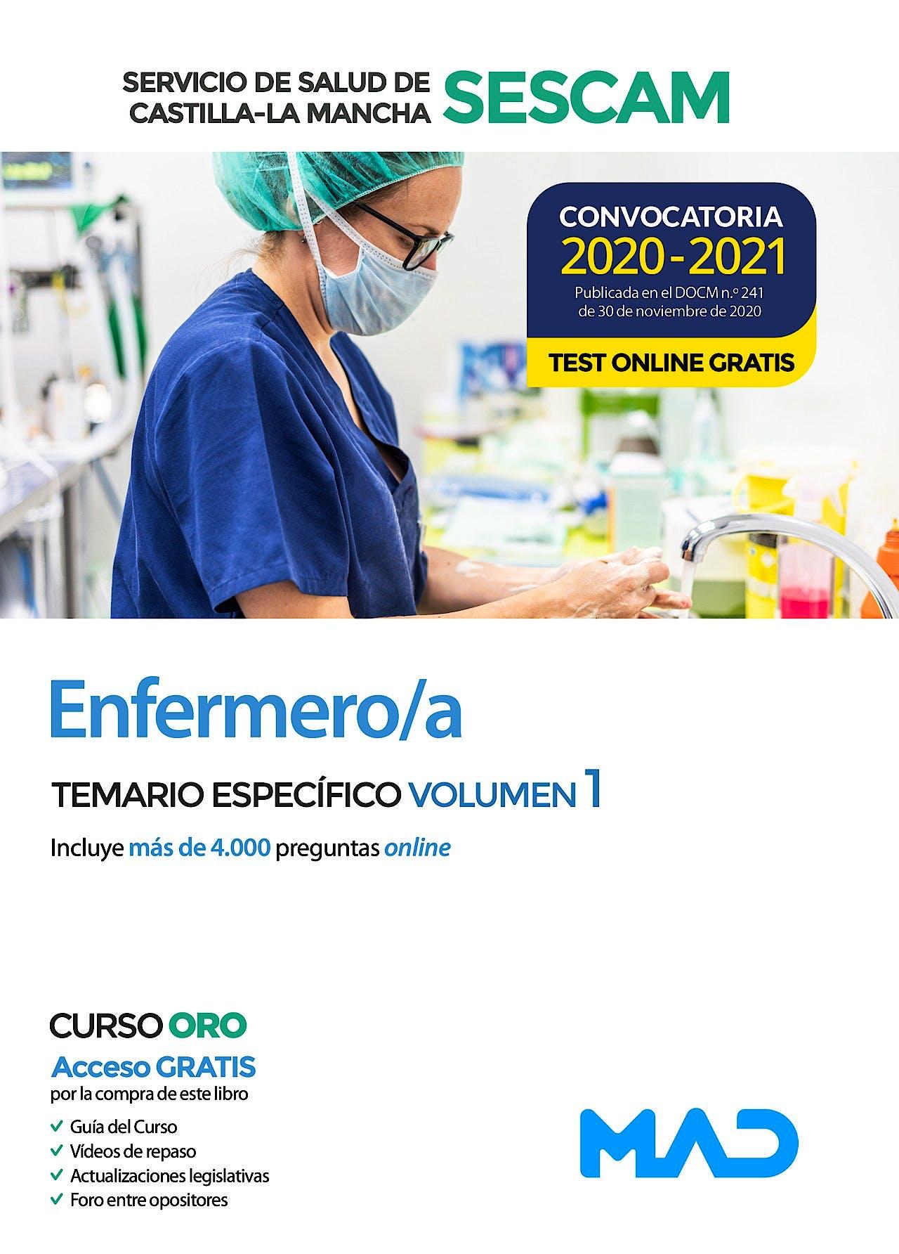 Portada del libro 9788414241608 Enfermero/a Servicio de Salud de Castilla-La Mancha (SESCAM). Temario Específico, Vol. 1