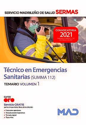 Portada del libro 9788414247099 Técnico/a en Emergencias Sanitarias (SUMMA 112) Servicio Madrileño de Salud (SERMAS). Temario, Vol. 1