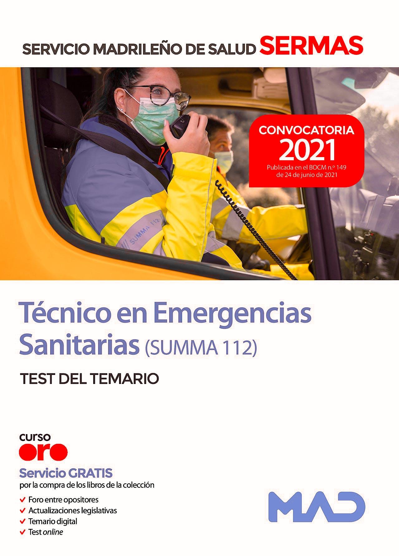 Portada del libro 9788414247297 Técnico en Emergencias Sanitarias SUMMA 112 del Servicio Madrileño de Salud (SERMAS). Test del Temario